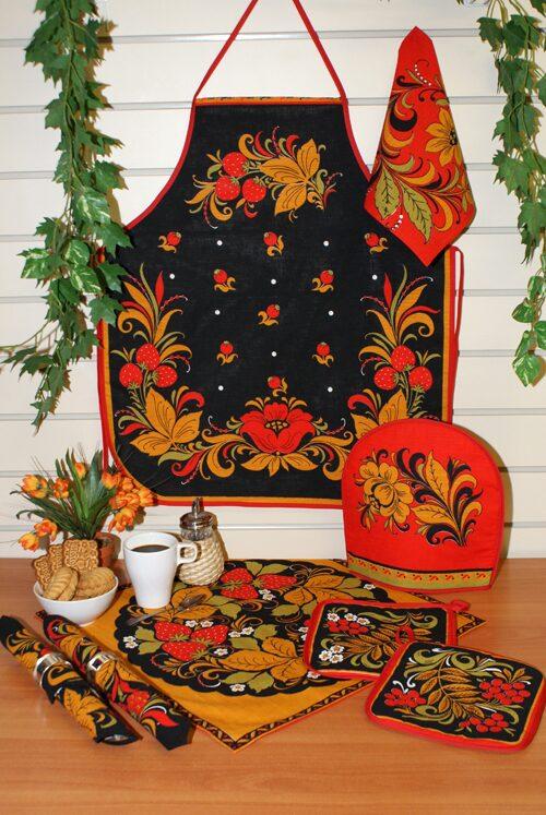 "Кух. набор ""Хохлома""-рыж., п/лен набивн.,4предм:фартук,полотенце,варежка и прихватка - 235"