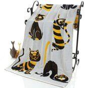 """Полотенце """"Кошки""""-желт. тканное двухслойное 70*140 см. хлопок 100%"""